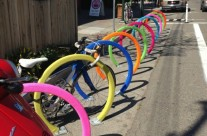 Bike Rack Rainbow in the Temescal Neighborhood of Oakland, CA