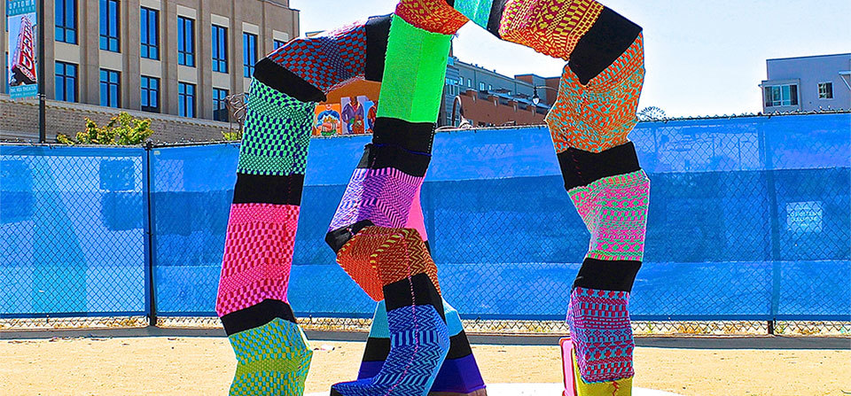 Oakland Yarnbomb of Randolph Colosky Sculpture